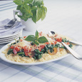 Couscous with Tomatoes, Sautéd Spinach & Two Cheeses