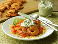 Shrimp and Cheddar Tostadas with Cilantro Mayonnaise