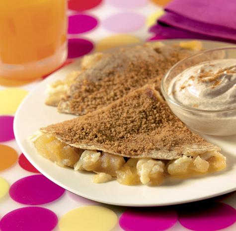 Apple Cinnamon Breakfast Quesadillas with Reduced Fat Cheddar Cheese