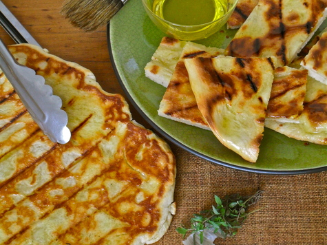Grilled Cheddar Flatbread with Garlic Thyme-Oil