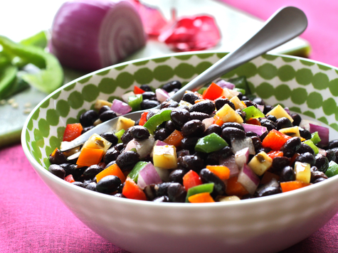 Black Bean and Veggie Salad with Lime Cinnamon Vinaigrette with Cabot 50% Reduced Fat Jalapeno Cheddar