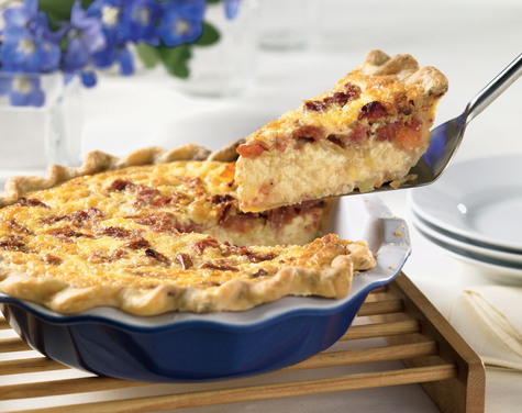 Cabot Sharp Cheddar Tomato Leek Quiche with Sour Cream Bacon Crust