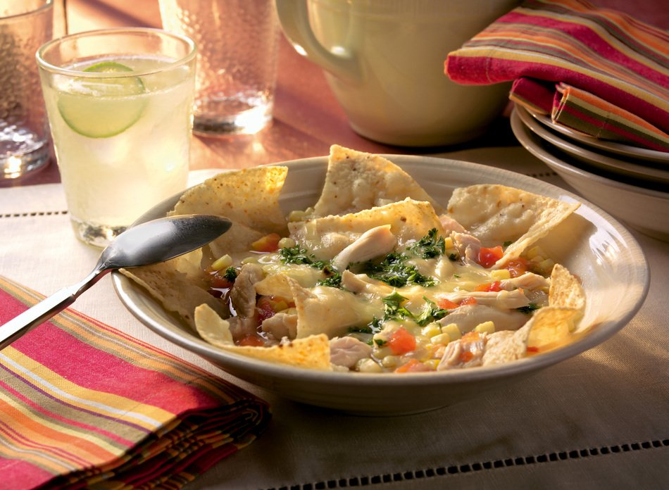 Chicken Corn Tortilla Soup with Cabot 50% Reduced Fat Cheddar