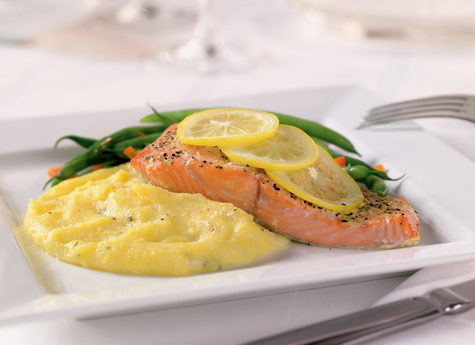 Oven Roasted Salmon with Cabot Cheddar Polenta