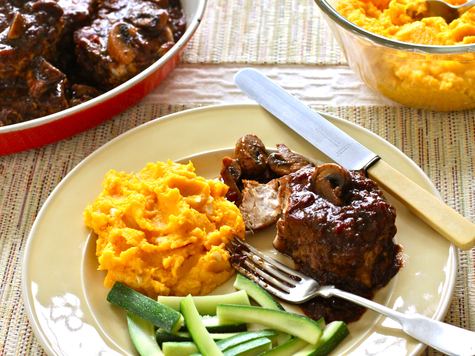 Smothered Pork Chops with Mashed Cheddar Buttercup Squash