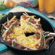Southwest Corn Frittata with Crunchy Tortilla Ribbons