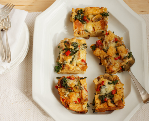 Vegetable, Egg & Cheddar Strata