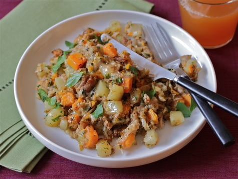 Turkey, Two-Potato and Cheddar Hash
