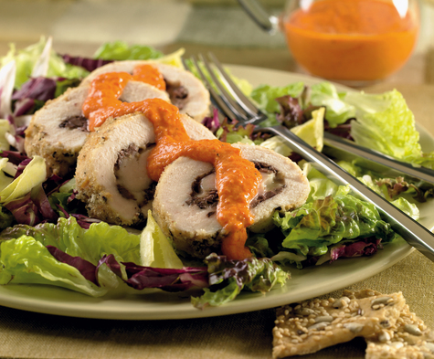 Kalamata Stuffed Chicken with Roasted Pepper Cream
