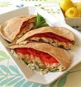 Grilled Chicken Pitas with Basil Cheddar Mayonnaise