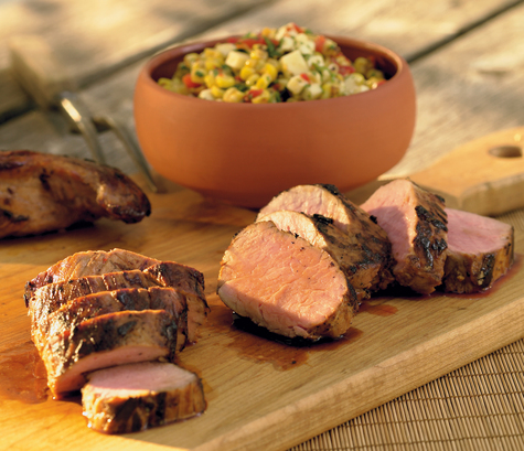 Beer-Marinated Pork Tenderloin with Charred Corn-Cabot Cheddar Relish